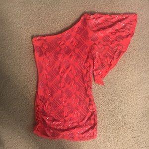 2b Bebe tunic/dress melon sequined one sleeve